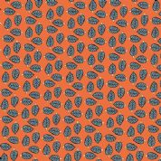 Inprint Indian Spice Market - 4519 - Blue Leaf Print on Coral - 2020 R50 - Cotton Fabric